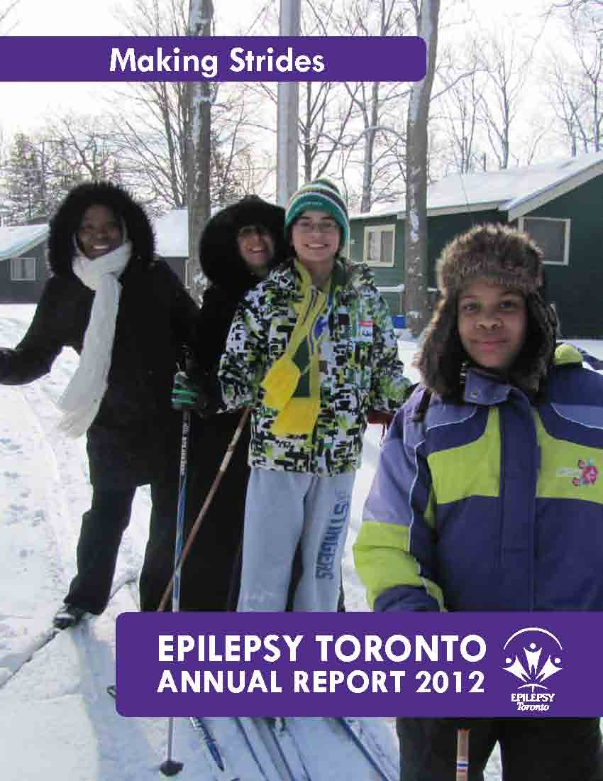 Photo of two adults and two children on skis on the cover page of Epilepsy Toronto 2012 Annual Report