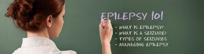 Woman writing epilepsy 101 on chalkboard