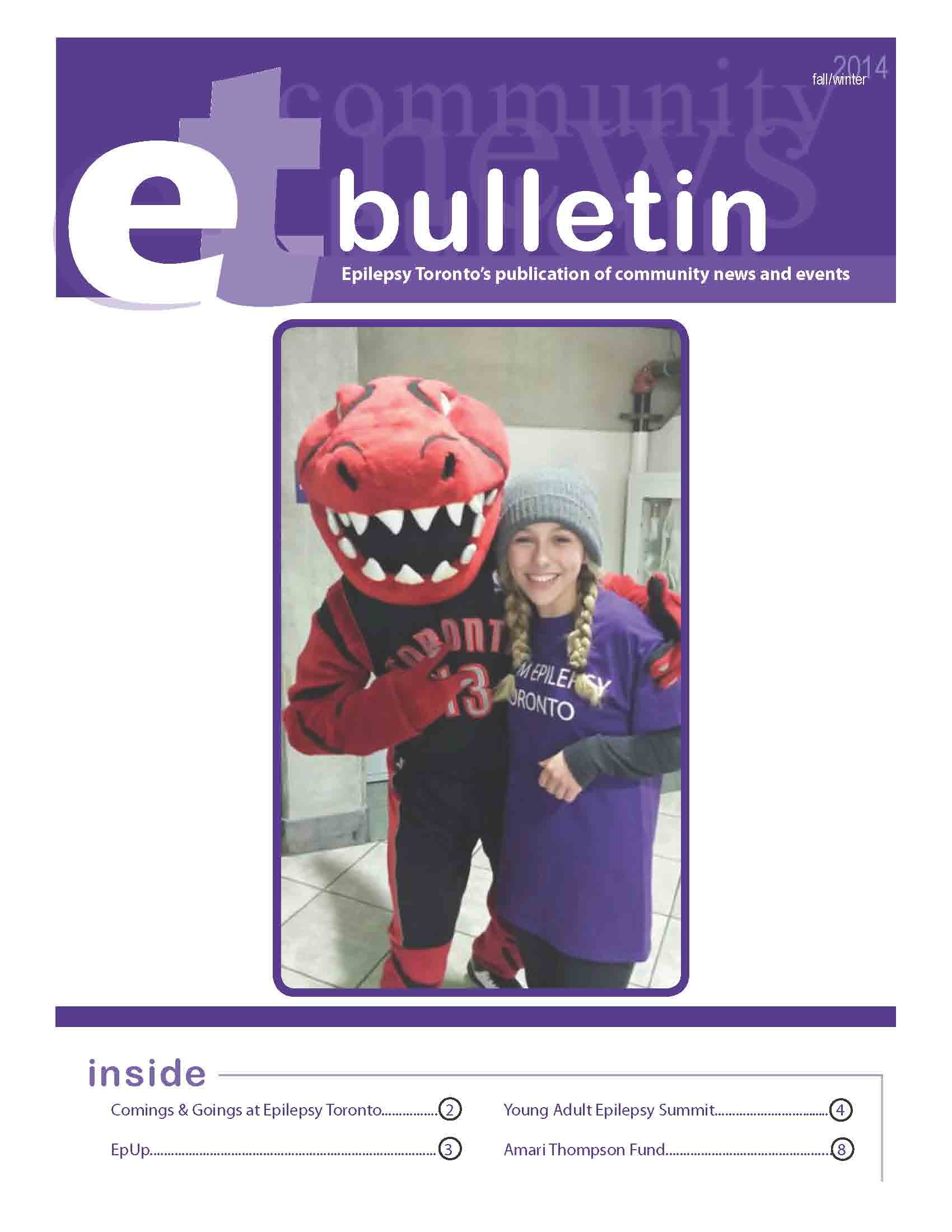 Photo of a woman with Toronto Raptors mascot on a page of 2014 Epilepsy Toronto bulletin