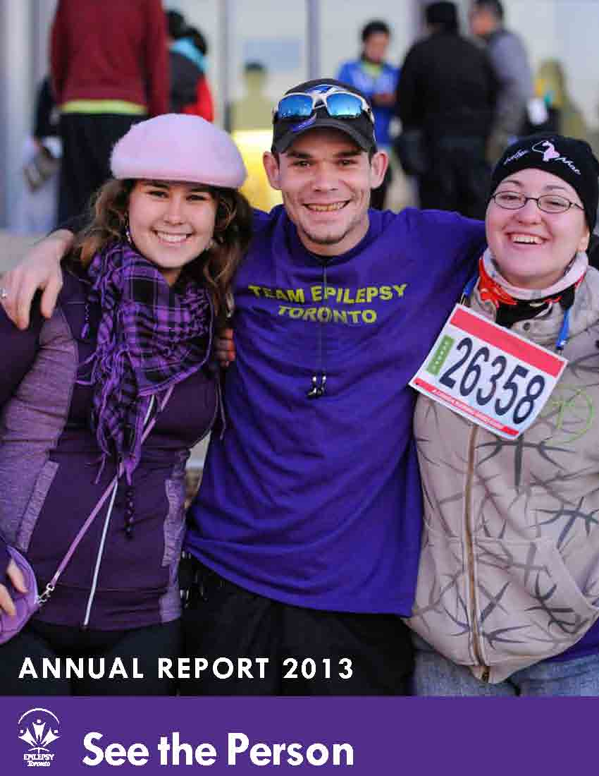 Three adults with their arms around each other smiling on cover page of Epilepsy Toronto 2013 Annual Report