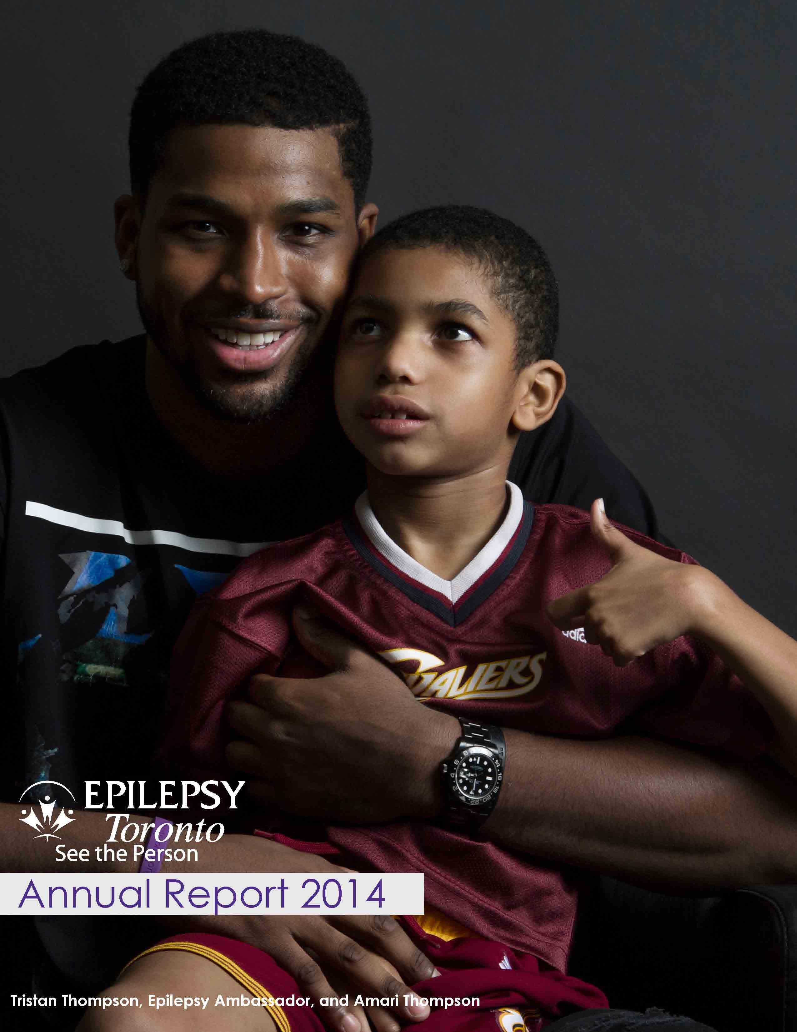 Photo of Tristan Thompson and Amari Thompson on cover page of Epilepsy Toronto 2014 Annual Report