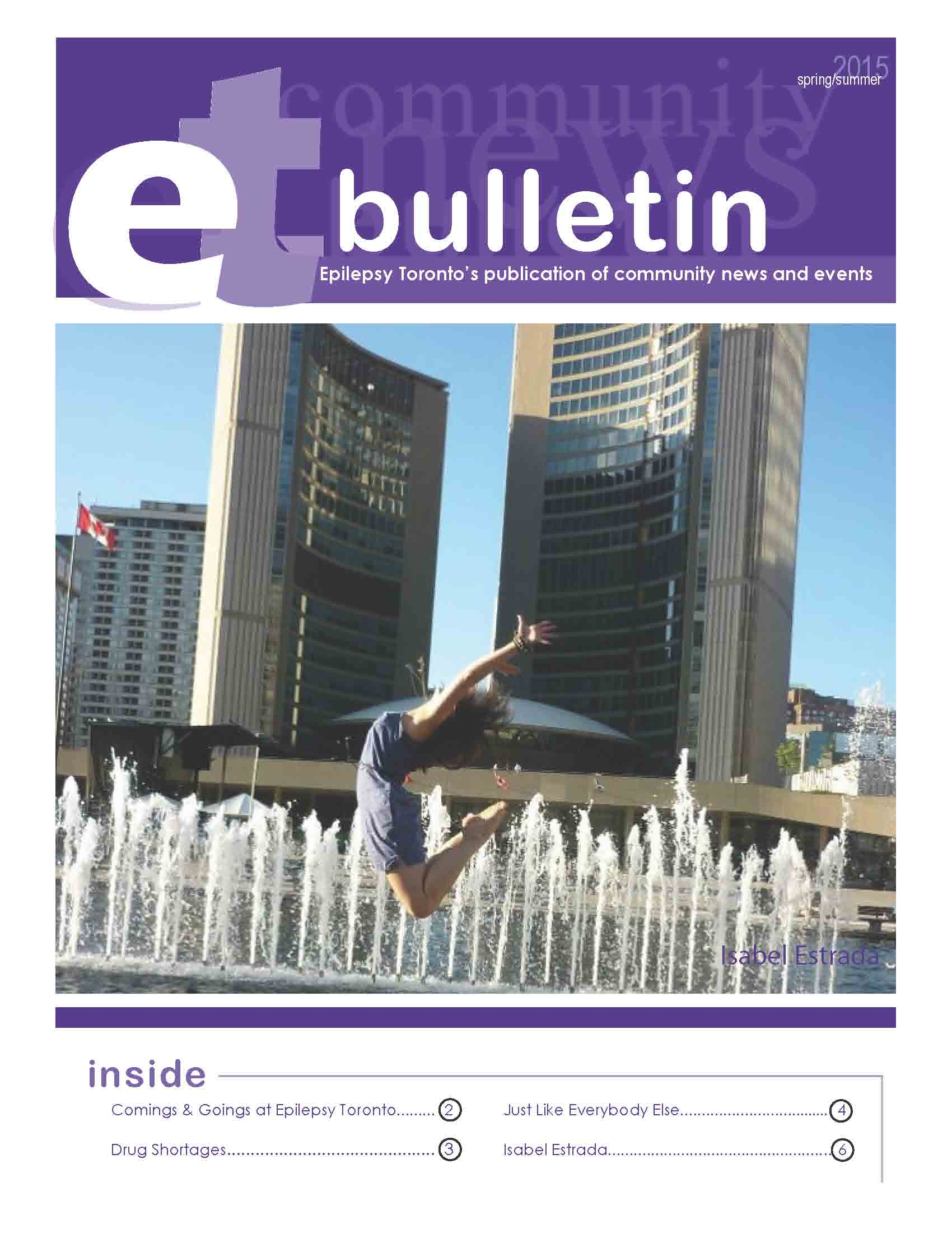 Photo of a woman jumping in front of water on a page of 2015 Epilepsy Toronto bulletin