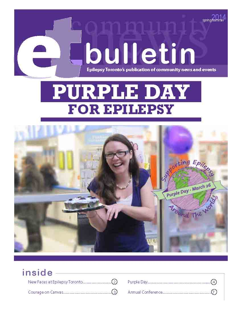 Photo of a woman holding a plate of cupcakes on a page of 2014 Epilepsy Toronto bulletin