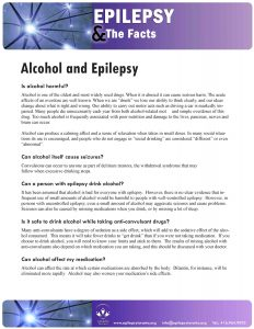 Epilepsy Fact Sheet page about alcohol