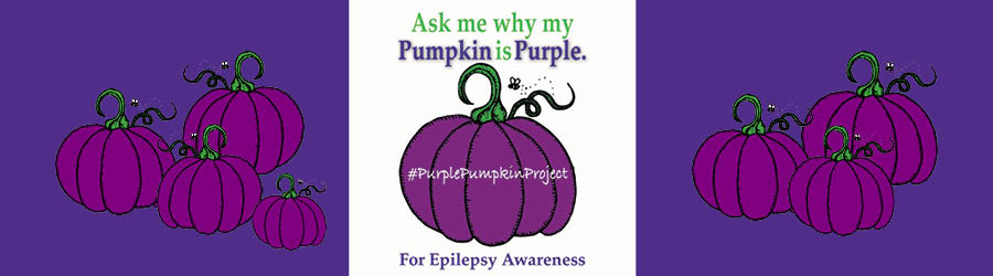 """Purple Pumpkin decorated banner with text saying """"Ask Me Why My Pumpkin is Purple"""""""