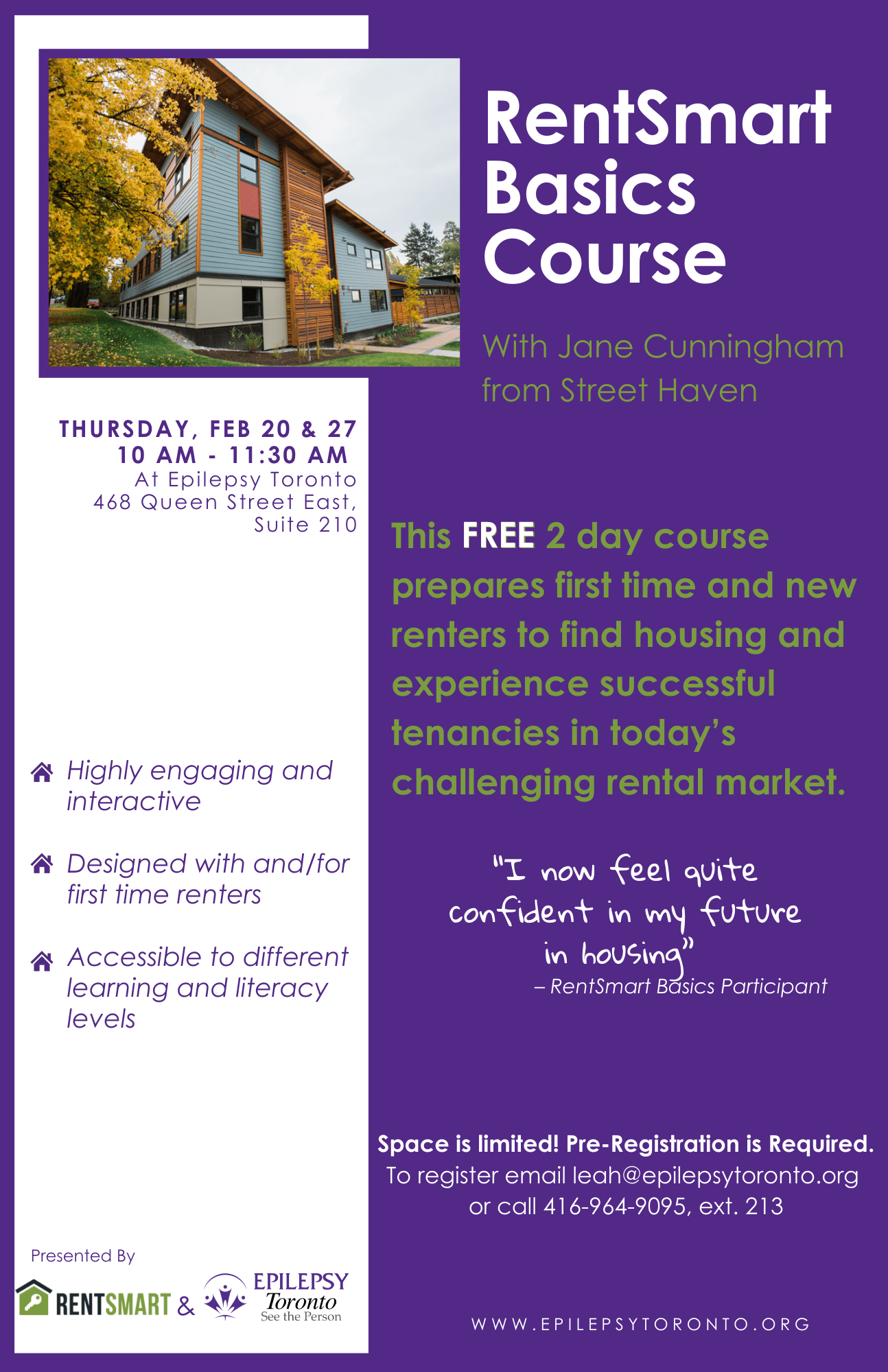 A Free 2 day course for first time renters to help them find housing.