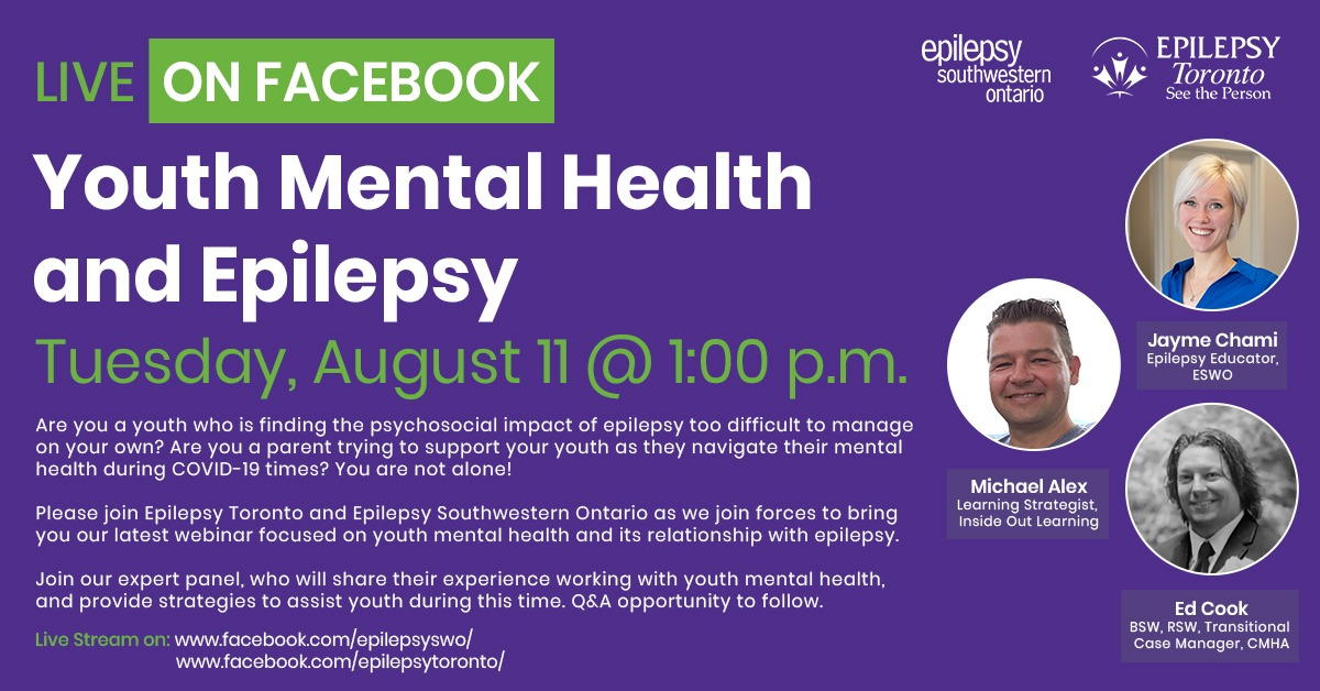 Headshots of the Youth Mental Health and Epilepsy Webinar speakers