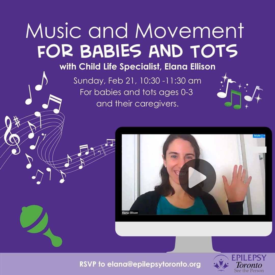 music notes, rattle, image of facilitator with video play symbol