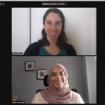 Elana Ellison and Noura Hamade on zoom sceens