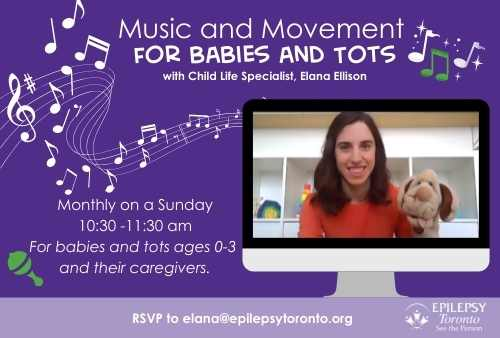 appearing on a screen is Music and Movement for tots facilitator Elana smiles with a dog puppet on her hand