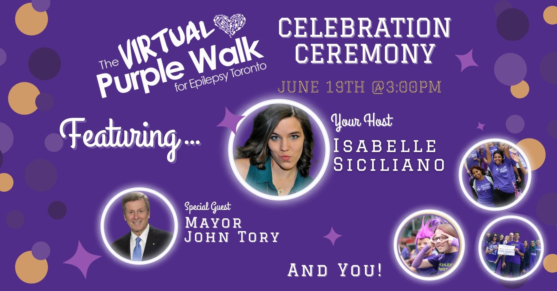 host Isabelle Siciliano, special guest Mayor John Tory and past walk participants