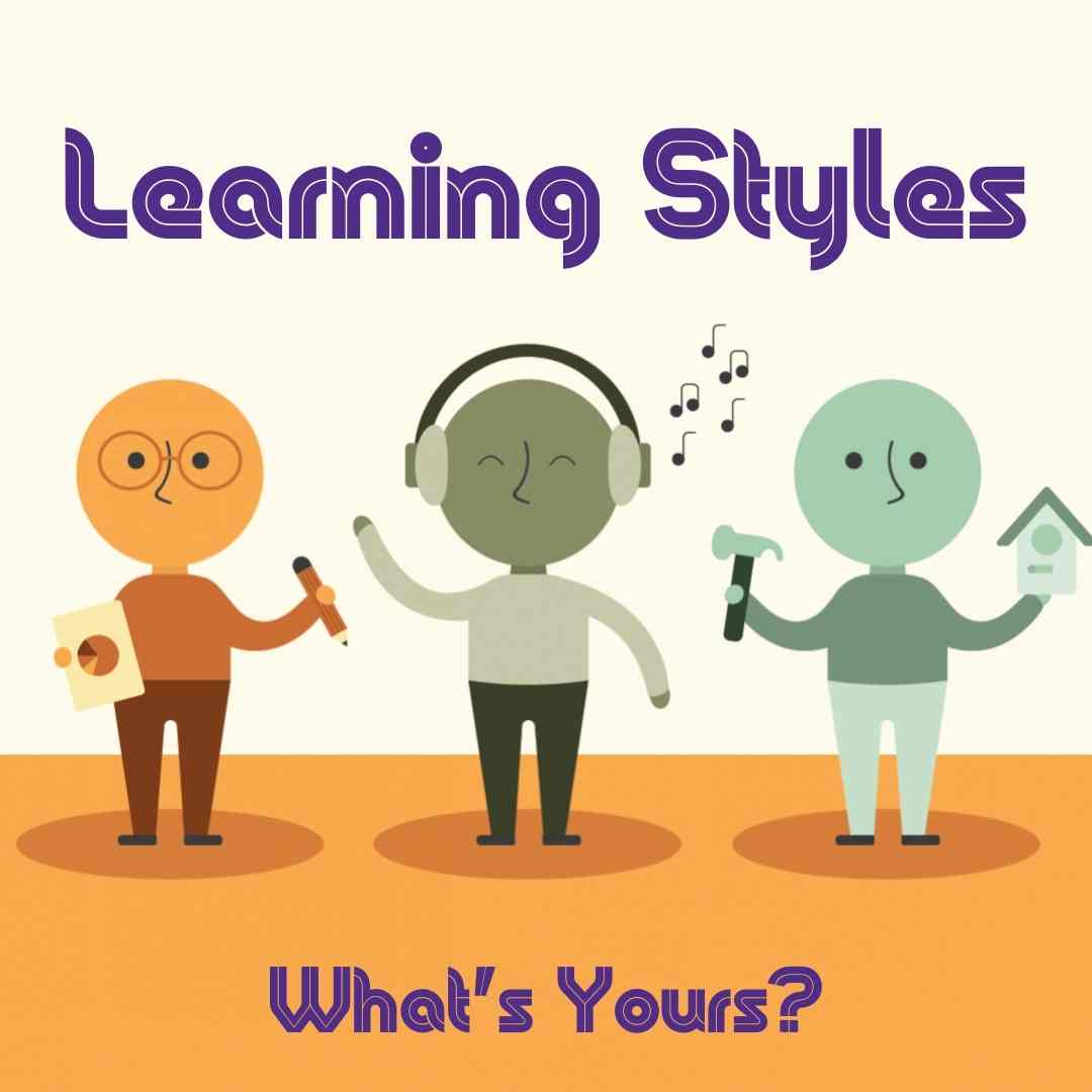 Three animated characters, each symbolizing one of the a learning style: visual, auditory and hands-on