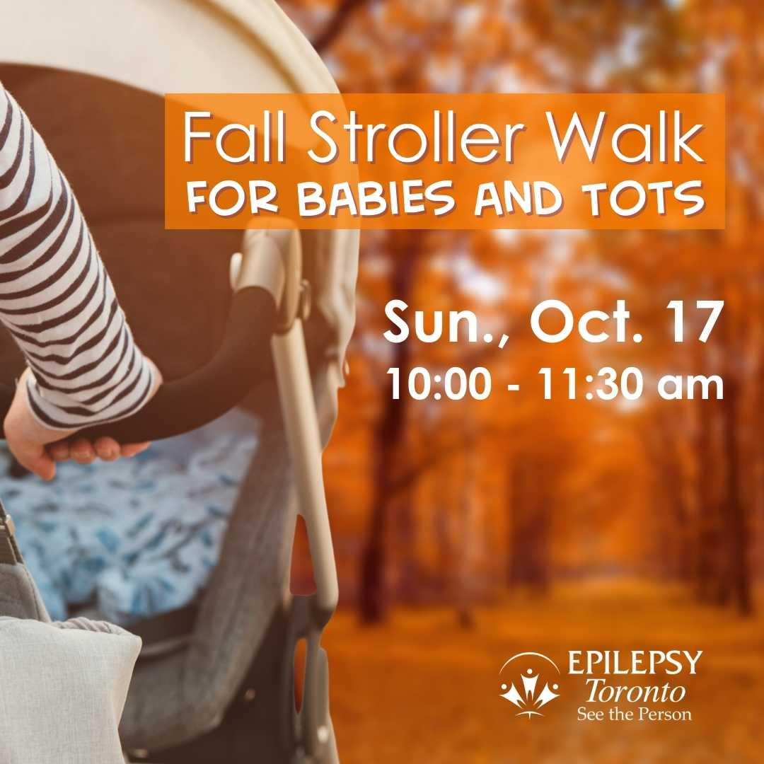 a stroller is being pushed towards a forest path covered in orange leaves