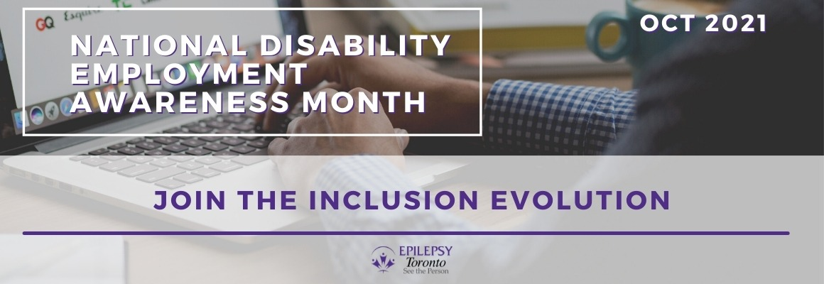 Banner image someone typing on laptop with NDEAM title and 'Join the Inclusion evolution'