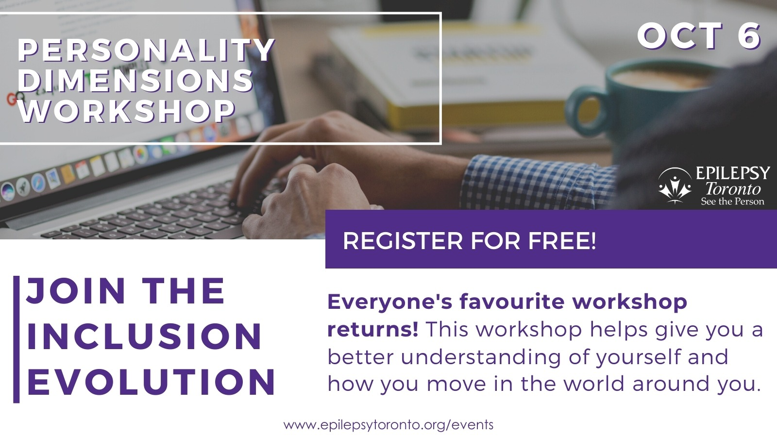 Someone typing on laptop with 'Personality Dimensions Workshop' title